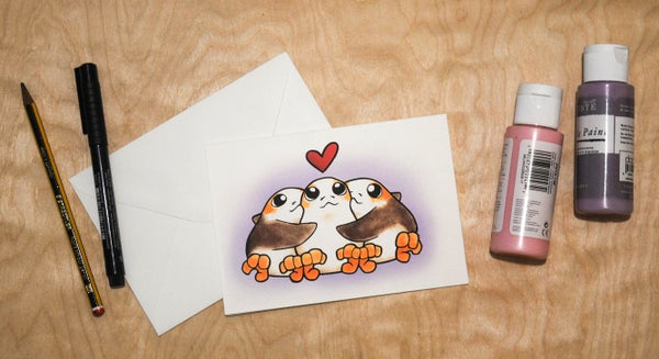 Image of Poly Porgs(purple) - Valentines Cards