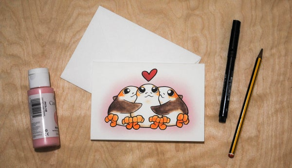 Image of Poly Porgs(pink) - Valentines Cards