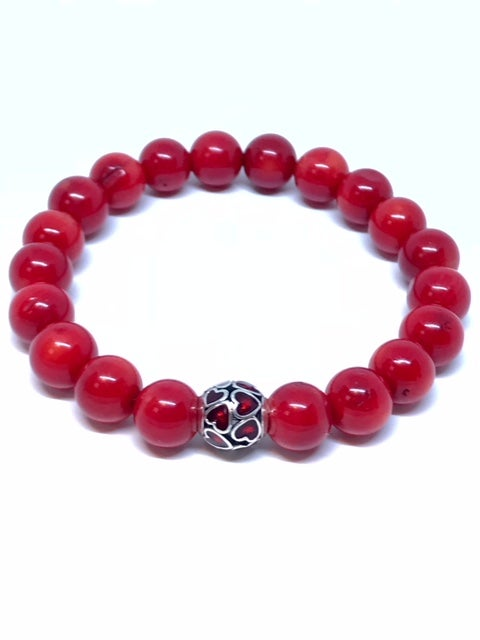 """Image of """"Pure Love of Red"""" womans Coral stretch bracelet"""