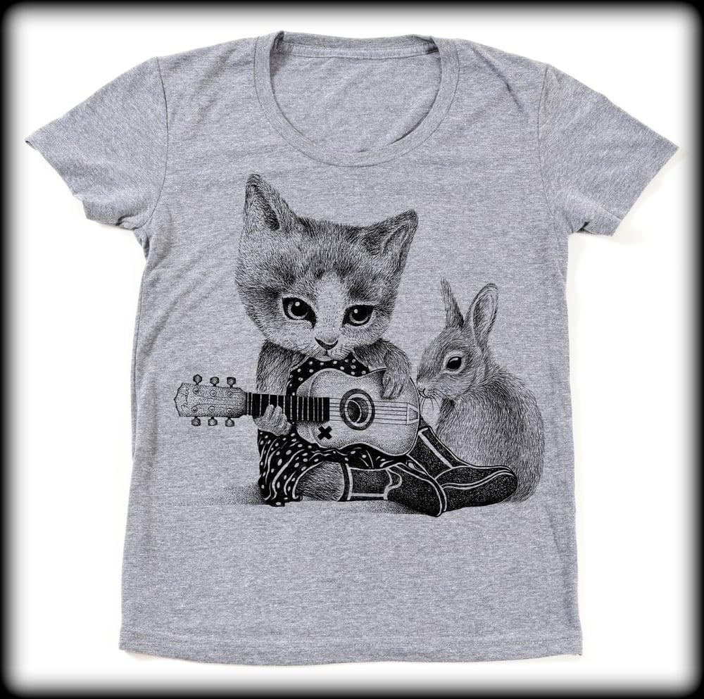 Image of Ladies Folk Cat Tee