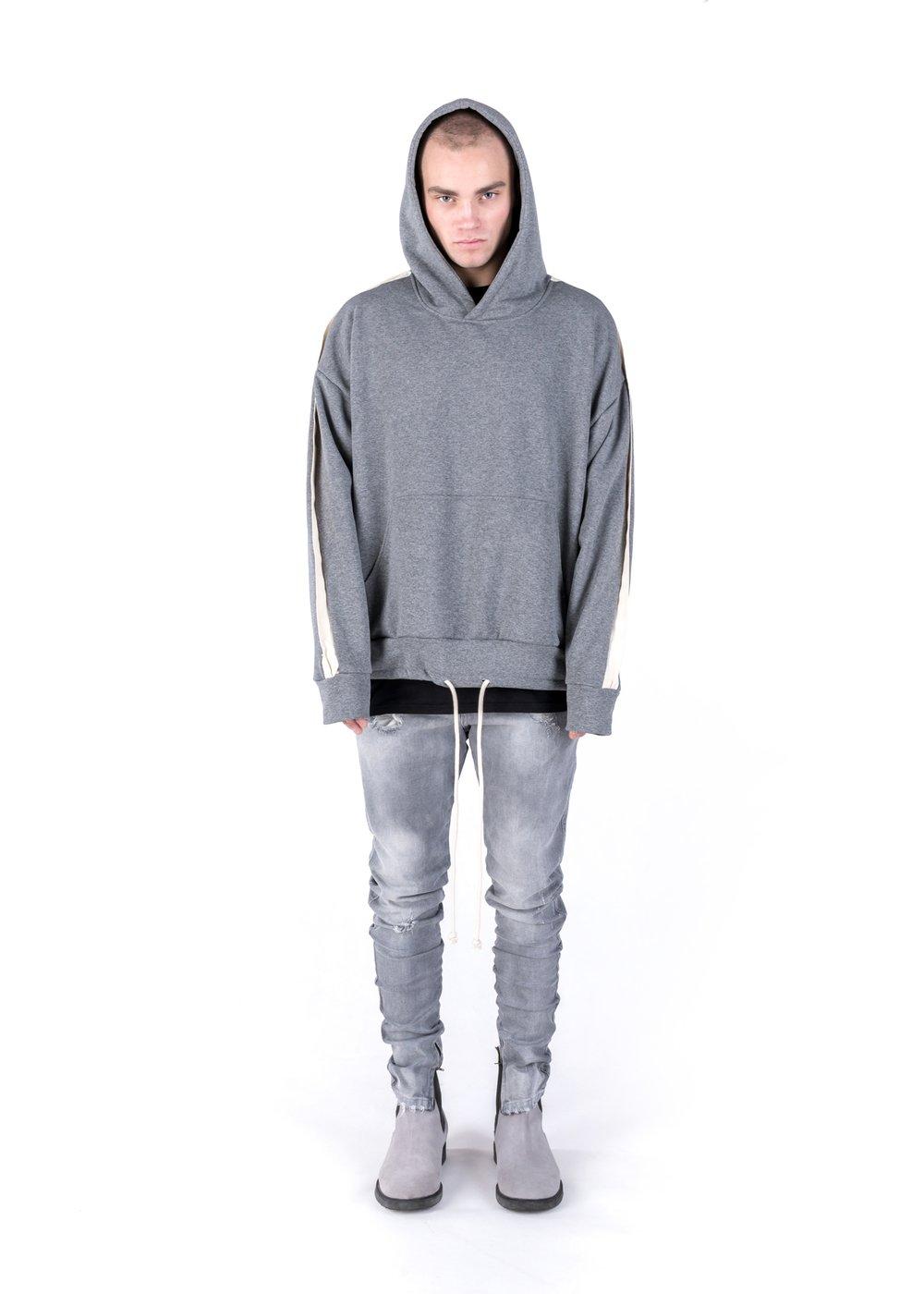 Image of U-F / Urban Flavours Oversized Stripe Hoodie Gray