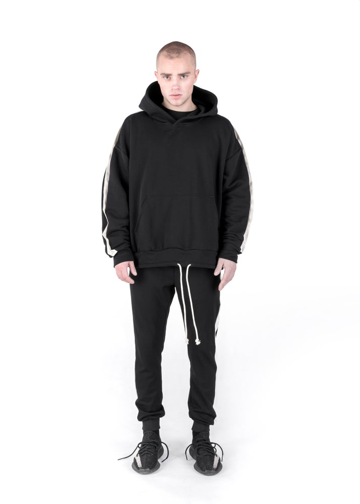 Image of U-F / Urban Flavours Oversized Stripe Hoodie Black