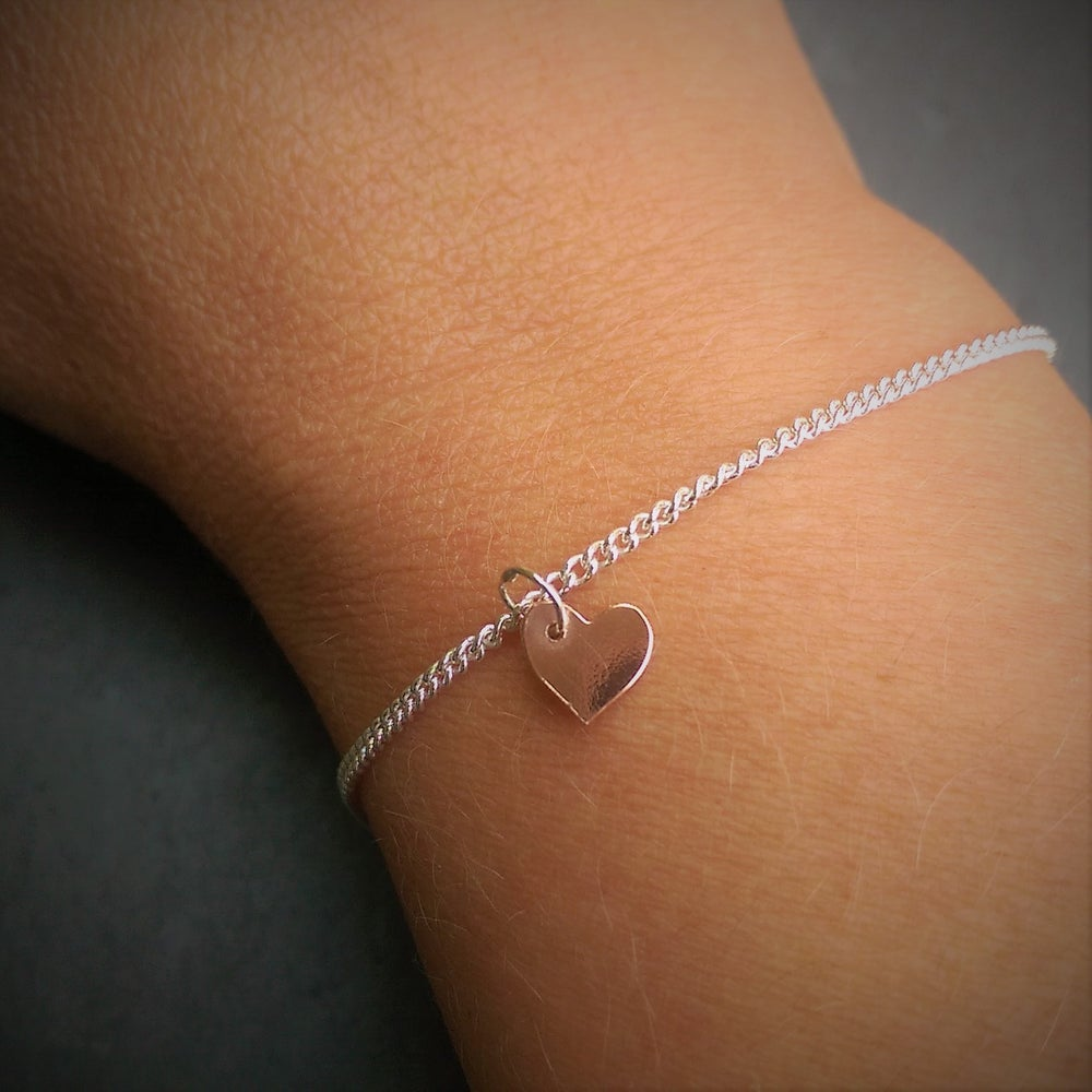 Image of Tiny Copper Heart and Silver Bracelet