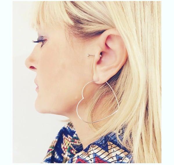 Image of 925 heart earrings