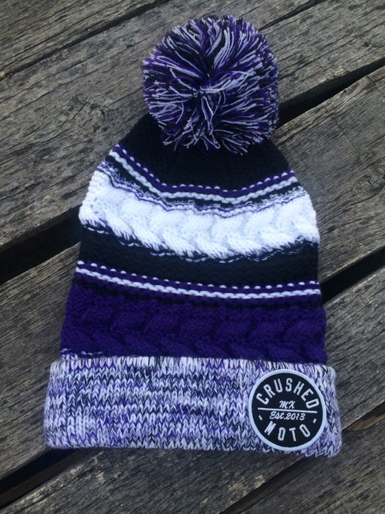 Image of Purple Crushed MX Pom Pom Beanie