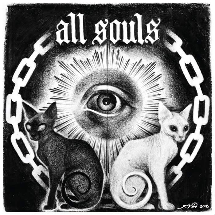 Image of All Souls debut LP screen printed original Kat Von D artwork