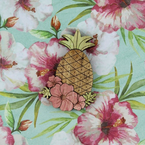 Image of Tropical wooden Pineapple brooch