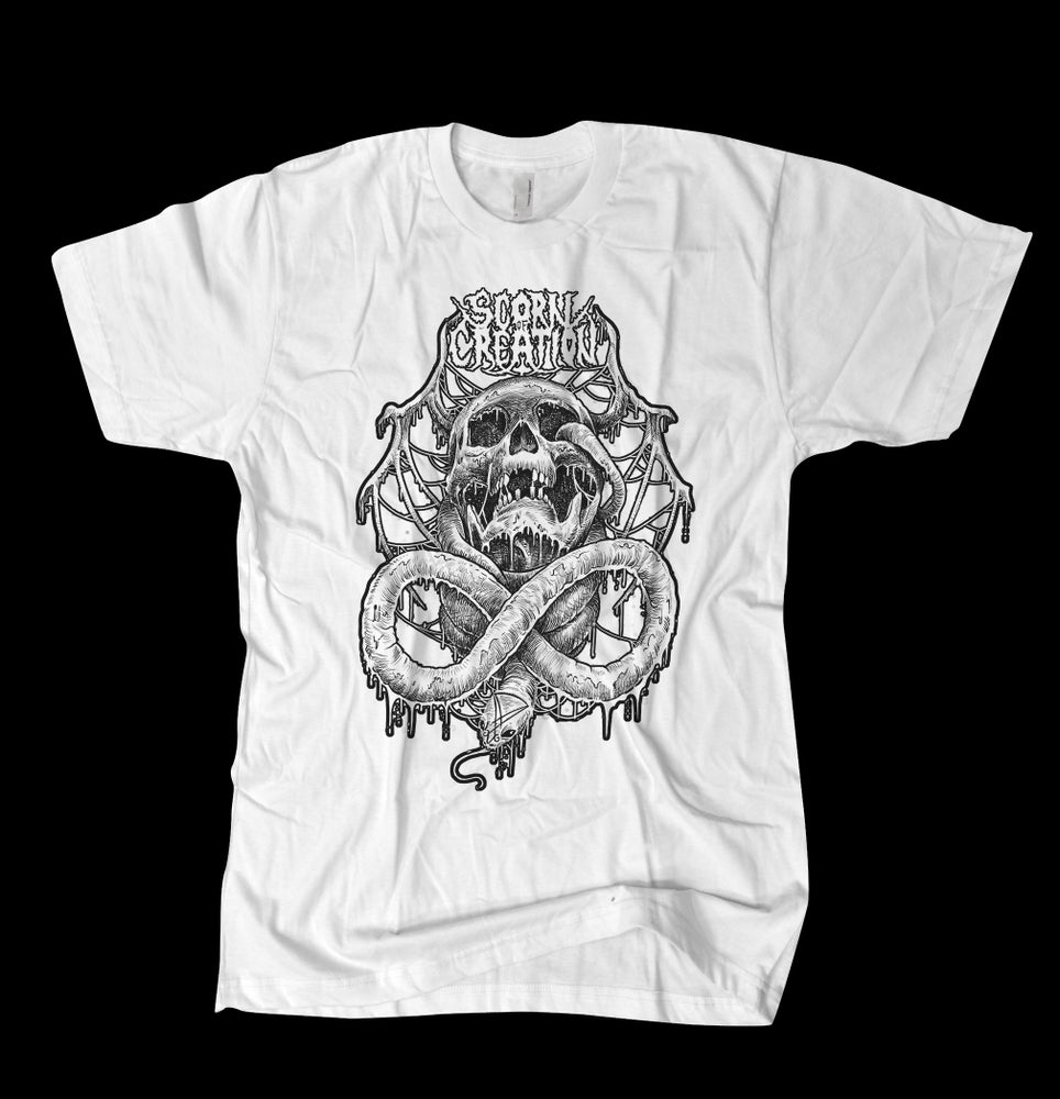 Image of Scorn of Creation - Serpent Skull White Tee