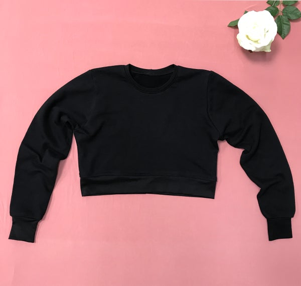 Image of One Dozen - Fitted Cropped Crewneck Sweater - Blank