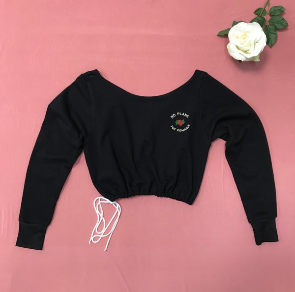 Image of Wholesale 1 Dozen - Off the Shoulder Sweatshirt - EMBROIDERED - No Plans for Romance