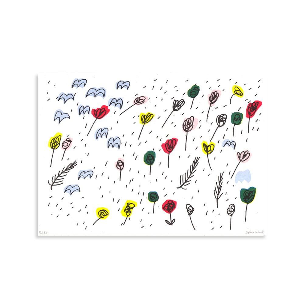 Image of Flowers Risograph Print