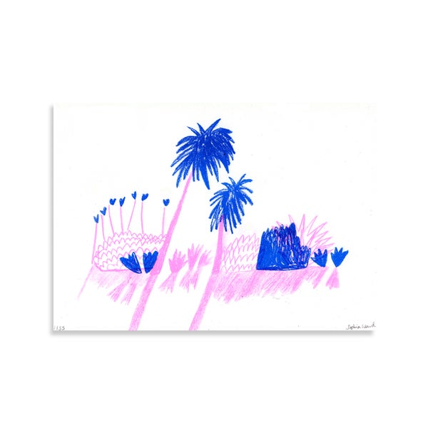 Image of Palm Tree Risograph Print