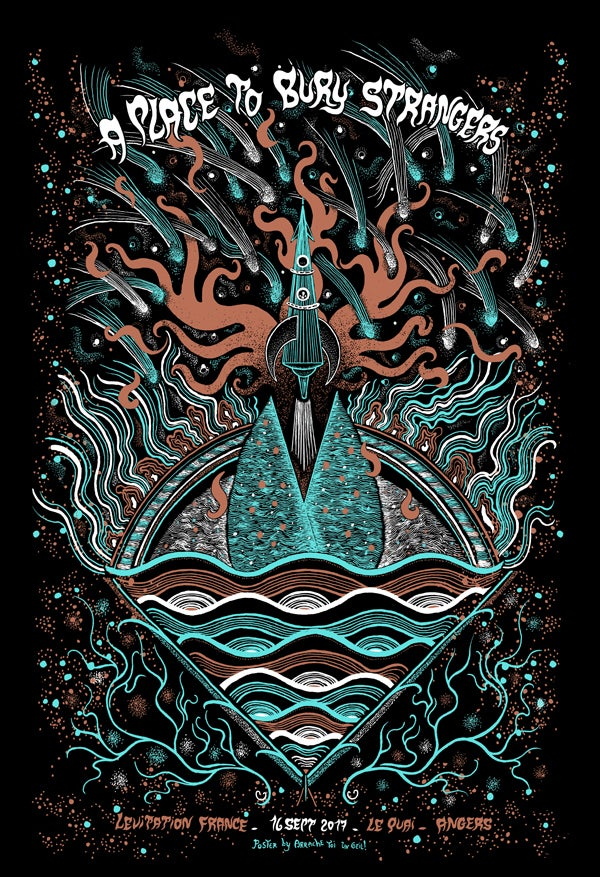 A PLACE TO BURY STRANGERS (Levitation France 2017) screenprinted poster