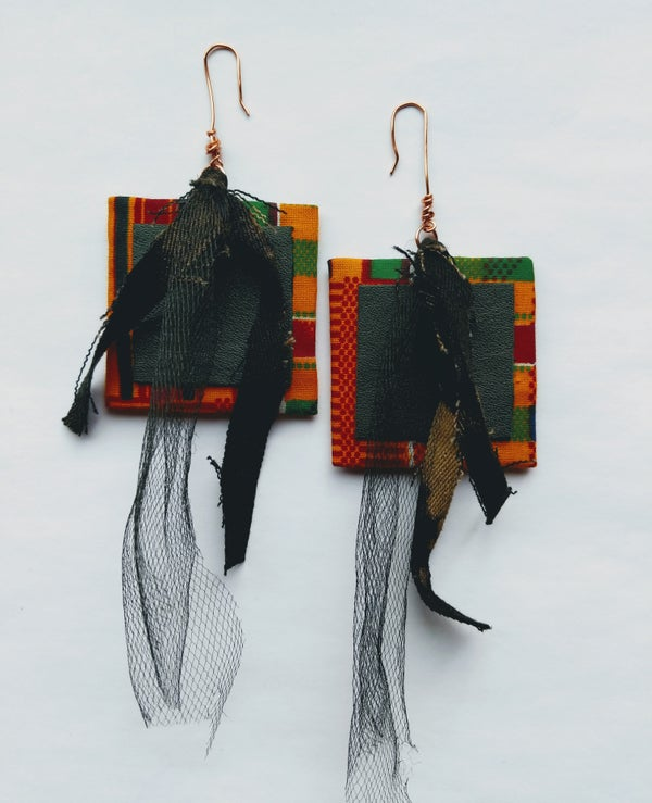 "Image of ""All Arounder"" Ankara, Denim, Tulle & Leather Earrings"