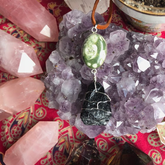 "Image of ""Grounded in Self-Love, Wholeness & Wisdom"" Rainforest Jasper & Black Tourmaline Necklace"