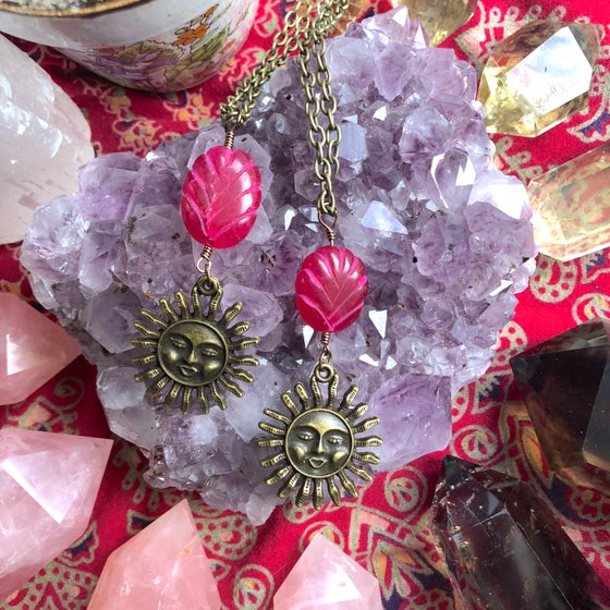 "Image of ""Passion of the Sun"" Carved Genuine Ruby Necklaces"