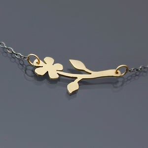 Image of Sterling Silver and 14k Gold Flower Necklace