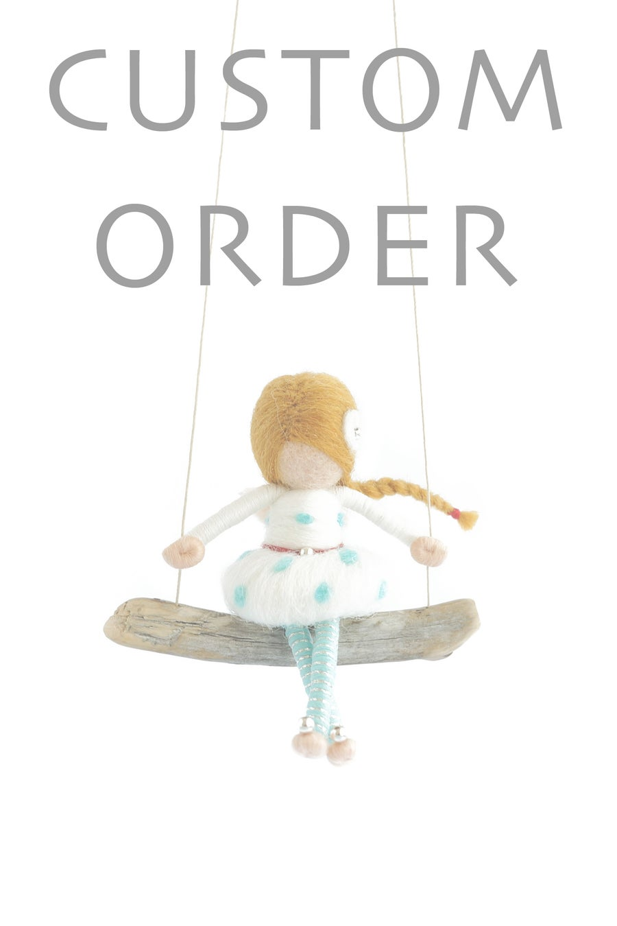 Image of NEEDLE FELTED FAIRY DOLL (POLKA DOT) - CUSTOM ORDER