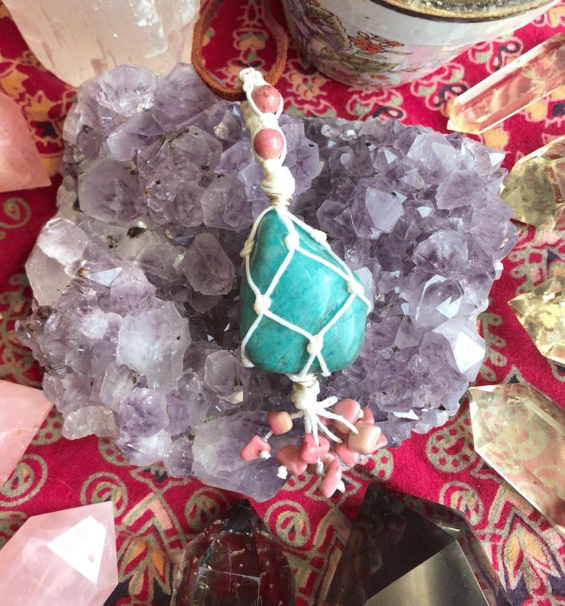 "Image of ""Embodiment of Love's Manifestation"" Amazonite & Rhodonite Necklace"