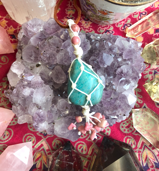 "Image of ""Embodiment of Love's Manifestation"" Amazonite & Rhodonite Necklace"
