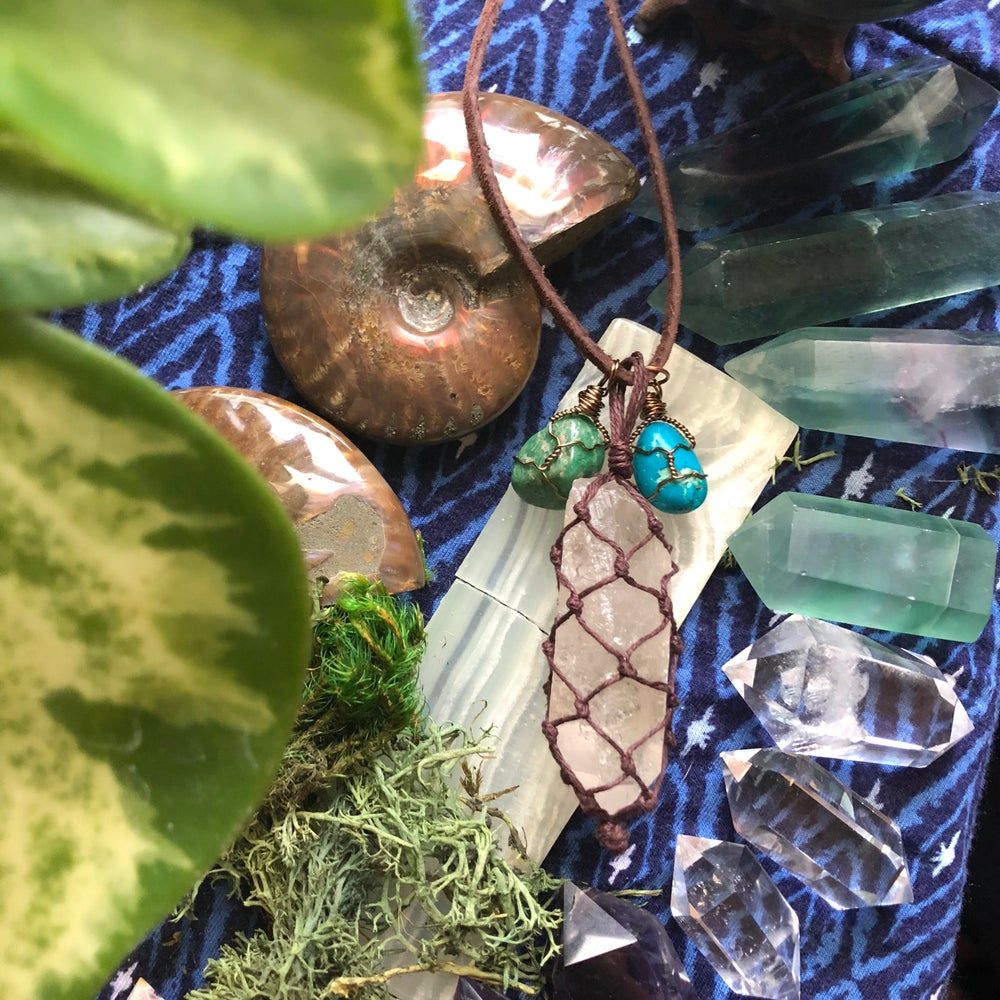 "Image of ""Divine Goddess of Light & Love"" Lemurian Quartz, Chrysocolla + Amazonite Necklace"