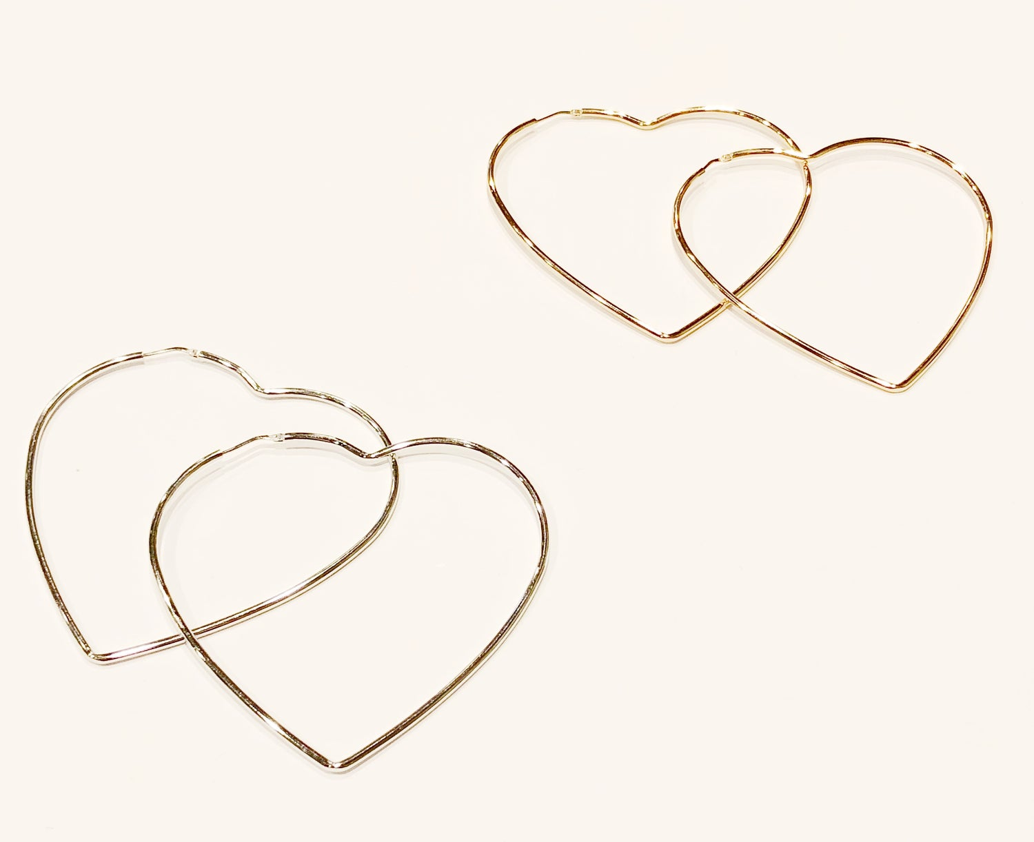 Image of 925 maxi hearts earrings