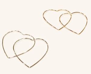 Image of 925 maxi hearts earrings