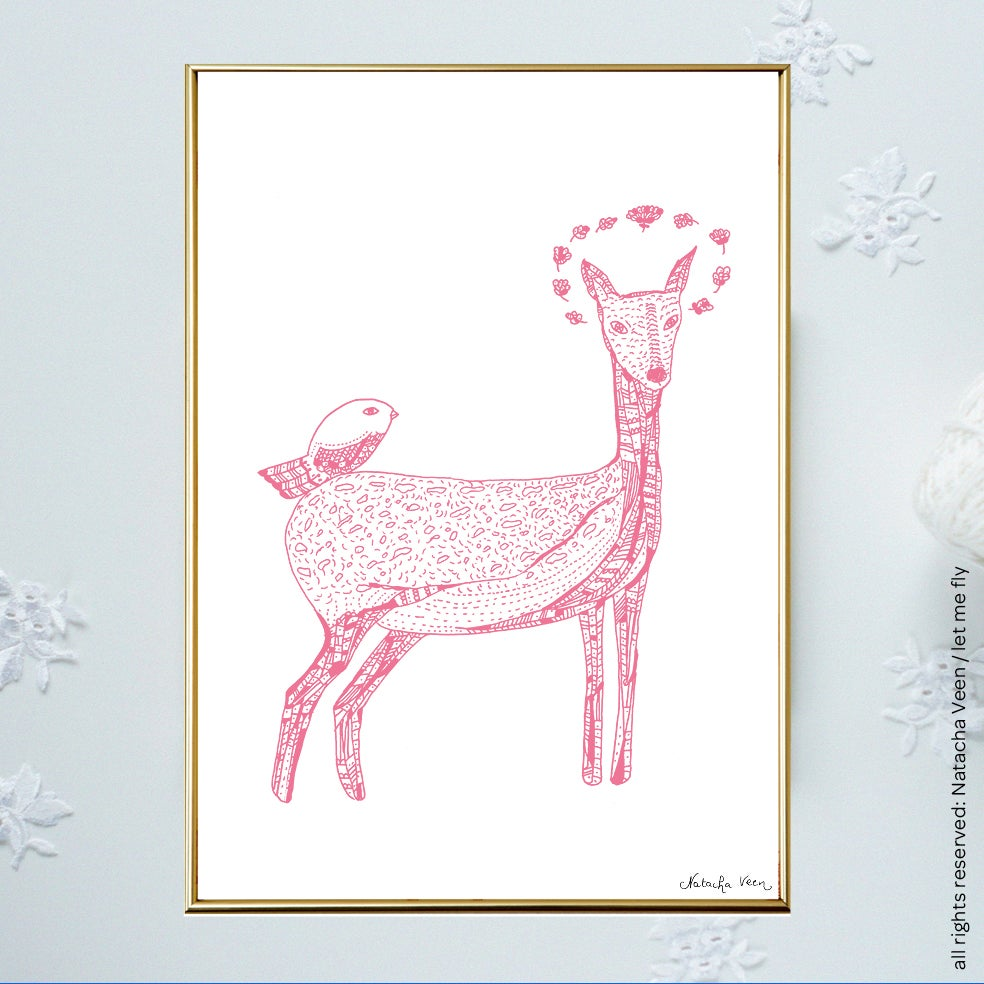 Image of Pink *Bambi Bird*_A4