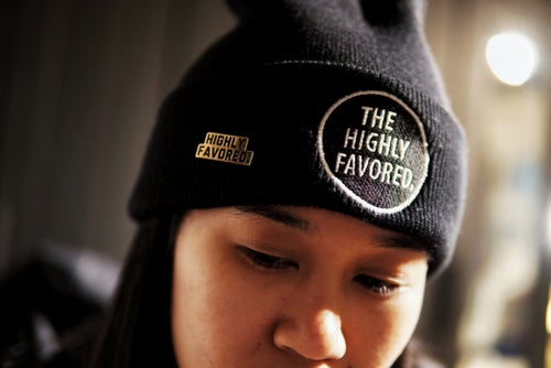 Image of Highly Favored. Gold//Black Pin