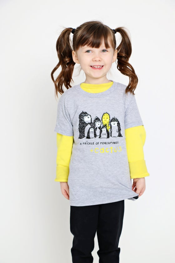 Image of A PRICKLE OF PORCUPINES + CACTUS kids' tee