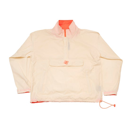 Image of Half Zip Pullover Jacket Cream/Orange