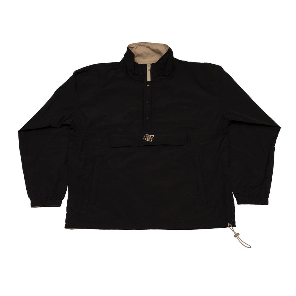 Image of Half Zip Pullover Jacket Black/Khaki