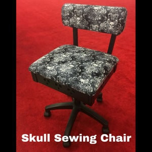 Image of Skull Sewing Chair - Hydraulic with Storage!