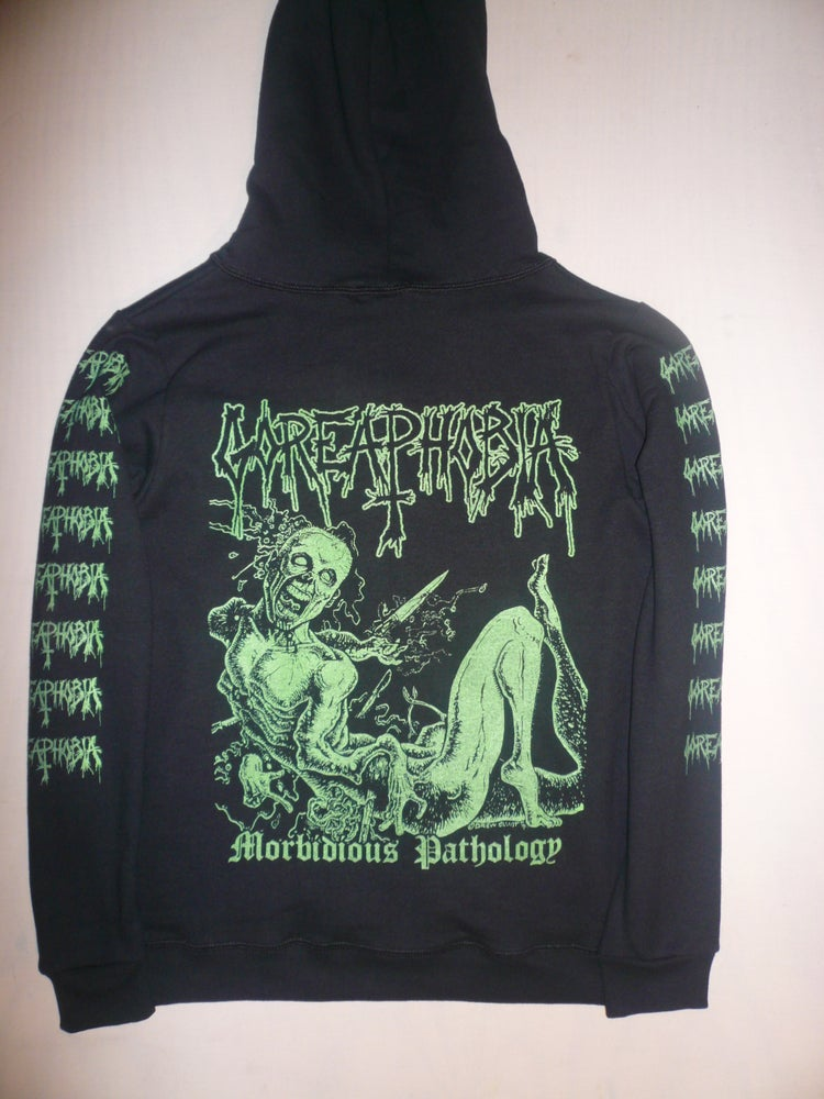 "Image of Goreaphobia ""Morbidous Pathology"" Long Sleeve Hooded Sweatshirt"