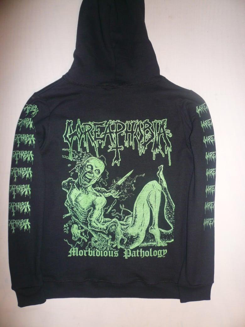 """Image of Goreaphobia """"Morbidous Pathology"""" Long Sleeve Hooded Sweatshirt"""