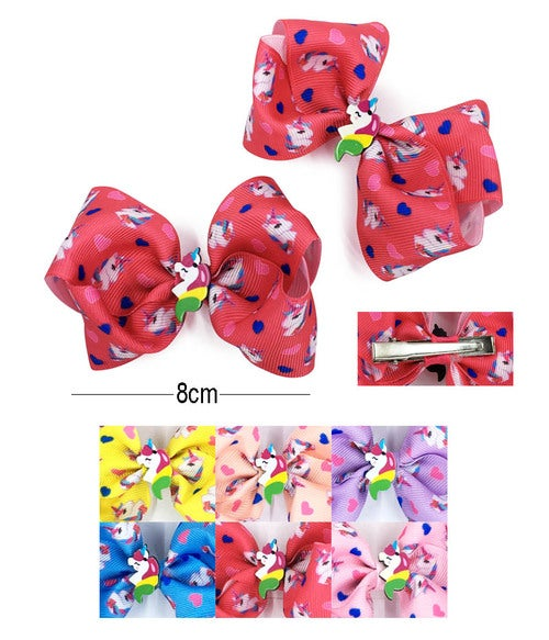 Image of Unicorn 2 Pcs Hair Bow Pin AAM-0339 Assorted Color