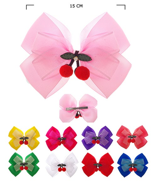 Image of Assorted Colored Cherry Hair Bows