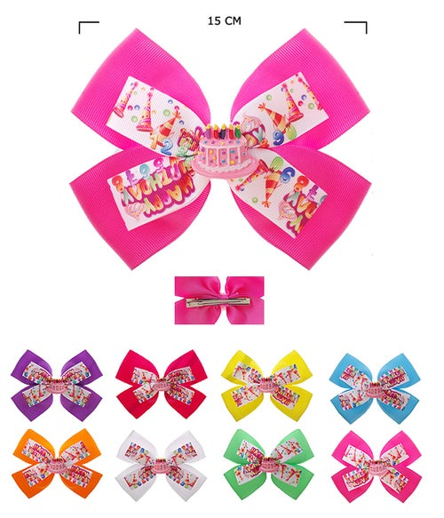 "Image of Hair Bow Pin ""Happy Birthday"" Assorted Color"
