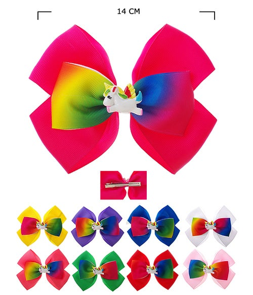 Image of Unicorn Hair Bow Pin Assorted Colors