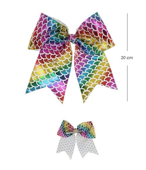 Image of Cheer Shape Rainbow Scale Hair Bow Assorted Color