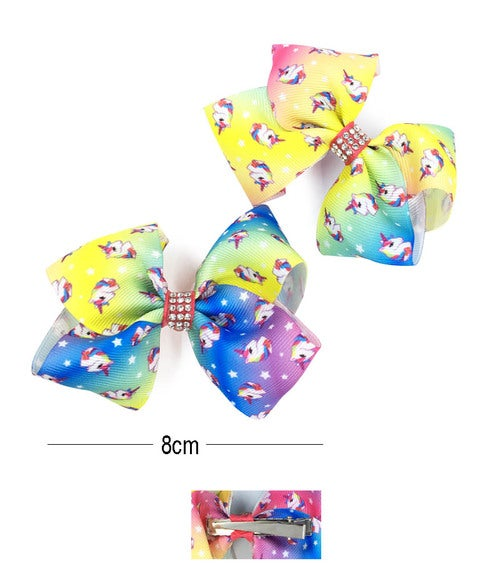 Image of Unicorn 2 Pcs Hair Bow Pin Assorted Color