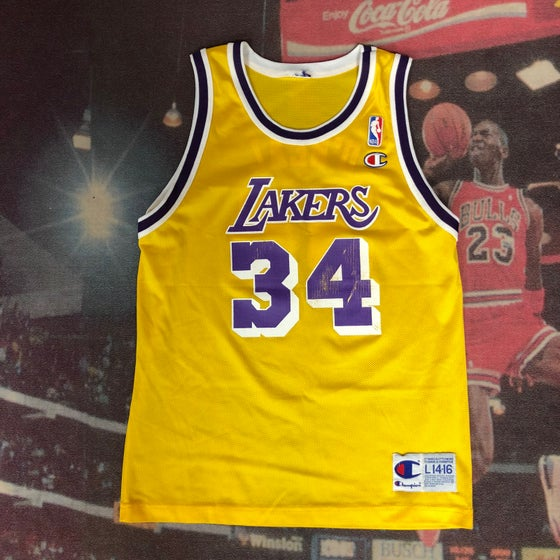 Image of Vintage Champion Los Angeles Lakers Shaquille O'Neal Jersey Youth Size Large