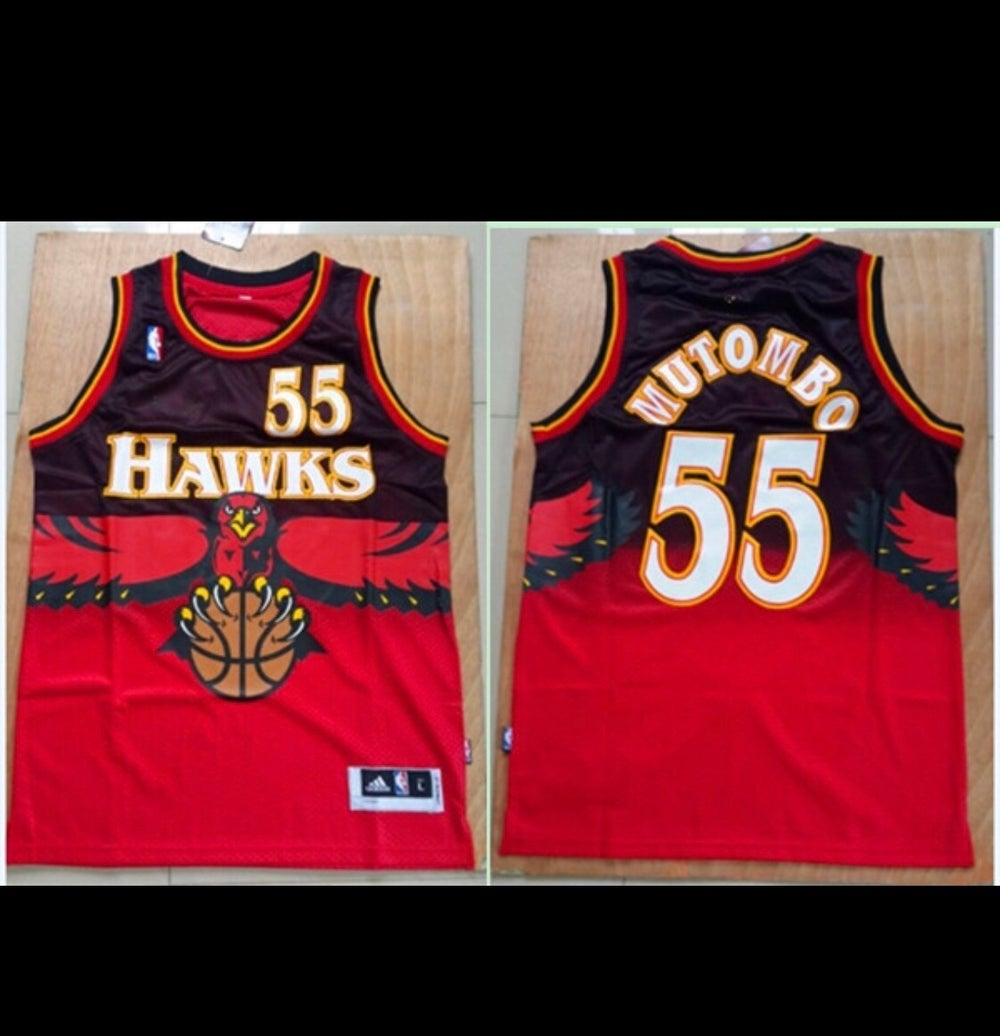 "Image of Atlanta hawks ""Dikembe Mutombo"" throwback jerseys"