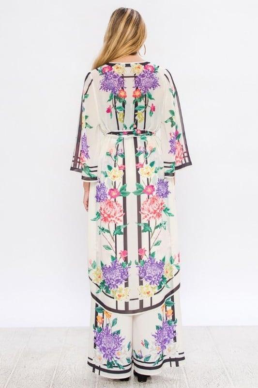 Image of Floral Kimono & Wide Leg Pant Set