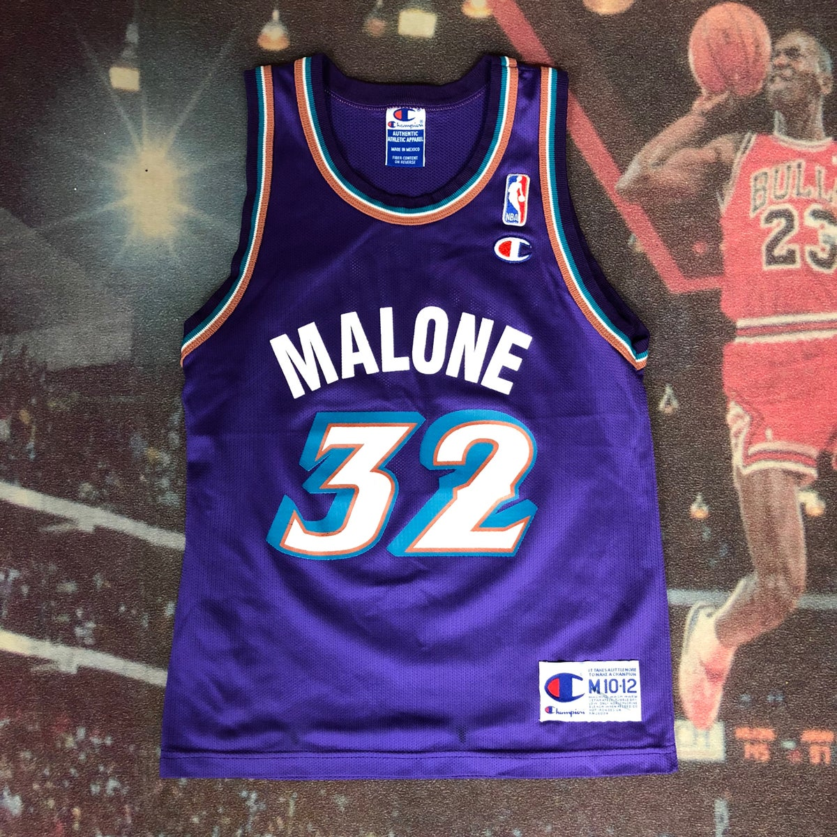 best sneakers 3f618 4f137 Vintage Champion Utah Jazz Karl Malone Jersey Youth Size Medium