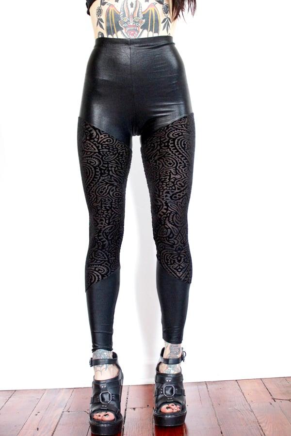 Image of Black Burnout Velvet Leggings