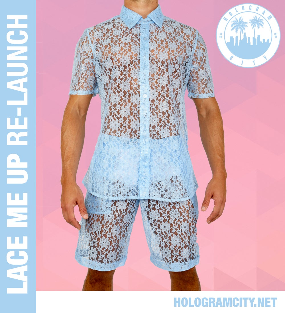 Image of LACE ME UP SHIRT-BLUE