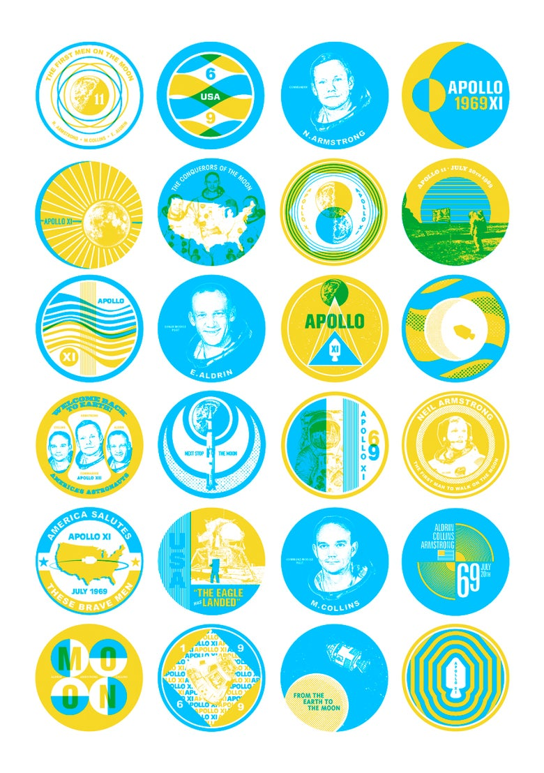 Image of SPACE BADGES-CYAN AND YELLOW