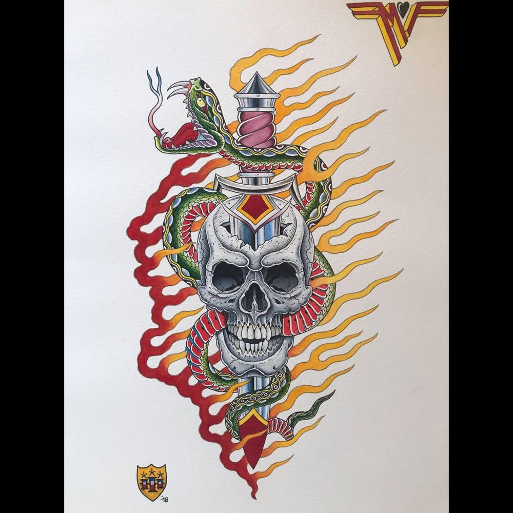 Image of Skull,Snake& Dagger for Mike Fite family