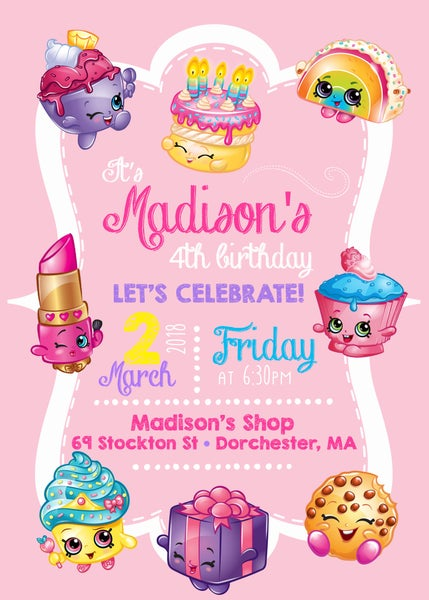 Image of Shopkins Birthday Invitation